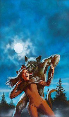 Werewolf Attack art by Ken Barr Horror Posters, Horror Comics, Horror Art, Sexy Horror, Fantasy Kunst, Dark Fantasy Art, Dark Art, Fantasy Creatures, Mythical Creatures