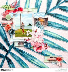 Scrapbooking layout using the Paradise Found collection for Kaisercraft by Lisa Amiet Beach Scrapbook Layouts, Scrapbooking Layouts, Scrapbook Paper, Scrapbook Designs, Craft Supplies Online, Arts And Crafts Supplies, Paradise Found, Tropical Paradise, Summer Paradise