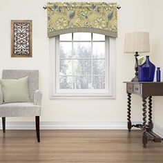 Exquisite and versatile, the Brighton Blossom valance features Jacobean florals in saturated hues. Modern, geometric trim adds style and charm. Perfect for kitchen, bedroom, or living room. Pair with
