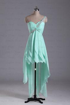 Custom A-line One-shoulder Long back short front Sleeveless Chiffon Evening Dress Party Dress Prom Dress Bridesmaid Dress 2013 With Beading