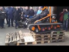 Home made tracked vehicle show driving. - YouTube
