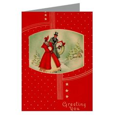 Vintage Christmas Vintage Greeting Cards Pk of 10 by CafePress. Restored Christmas card from my collection Vintage Greeting Cards Pk of 10 Greeting cards are a great way to express yourself and to keep in touch with friends and family. A personal note on a beautiful card will make a lasting impression and a touching keepsake. Available in your choice of paper stock. Price: $18.00