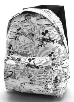 MICKEY MOUSE Vintage Comic Strip Full Size Backpack Canvas A4 Disney Retro NEW