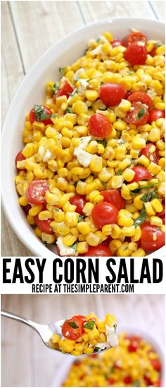 Make this easy corn salad for your next get together! Sweet Corn Salad Recipe, Corn Salad Recipes, Basil Recipes, Corn Salads, Lunch Recipes, Summer Recipes, Savory Salads, Dinner Recipes, Cold Corn Salad
