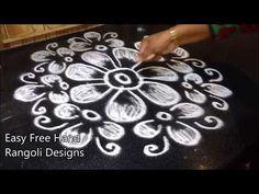 free hand rangoli design | padi kolam | easy free hand rangoli designs - YouTube Simple Rangoli Border Designs, Rangoli Borders, Rangoli Designs Flower, Free Hand Rangoli Design, Rangoli Designs Diwali, Rangoli Designs Images, Easy Rangoli, Beautiful Rangoli Designs, Henna Designs