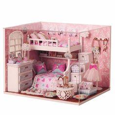 Miniatura de kit diy dollhouse madeira cuteroom com sonho de anjo do mobiliário boneca casa quarto Sale - Banggood Móvel