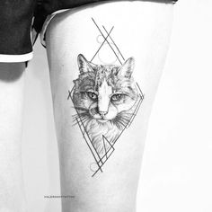Puurfect cat tattoo by Valerakottattoo.   Blackwork animal tattoos are classy & mysterious. They stand out due to their bold lines and complex patterns and they impose respect and admiration. Enjoy!
