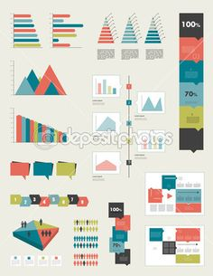 Flat infographic collection of charts, graphs, speech bubbles, schemes, diagrams. Trend color set. Rectangle design. — Vector de stock  #44200683