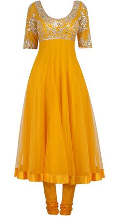 Yellow Frock with churidar