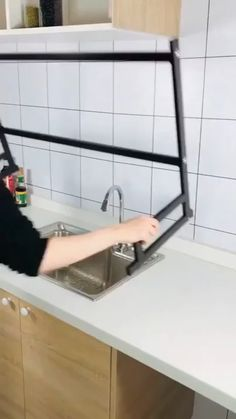 Stainless steel covered with black Piano Finish. Dual protection ensures no rusting, long lasting durability and easy clean. diy kitchen decor Black Over Sink Dish Drying Rack,Sink Length ≤ inch Kitchen Room Design, Home Decor Kitchen, Kitchen Furniture, Kitchen Interior, Diy Furniture, Furniture Design, Tidy Kitchen, Kitchen Ideas, Kitchen Hacks
