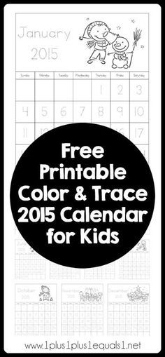 Free Color and Trace Printable 2015 Calendar for Kids