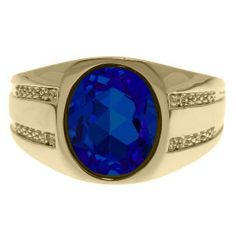 Oval-Cut Sapphire and Diamond Men's Ring In Yellow Gold Available Exclusively at Gemologica.com