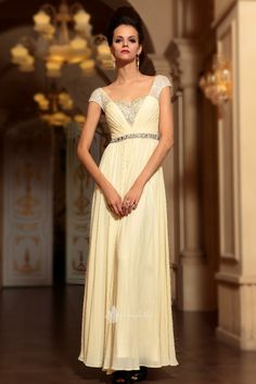 CLASSIC - allure light yellow cap-sleeve empire sequin diamond long wedding guest formal dress -SB