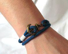 Anchor Bracelet Nautical Bracelet for men by HappyAnchorStore