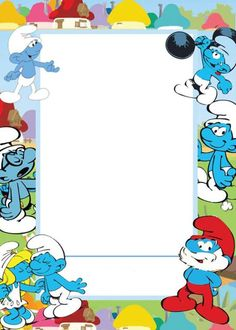 Spice up your party invitation with Smurf Invitations Christening Themes, Photo Frames For Kids, Fairy Tale Crafts, Smurf Village, Free Invitation Templates, Smurfette, Printable Recipe Cards, Mickey And Friends, Writing Paper