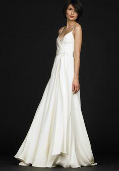 Sheathy White Spaghetti Straps Empire Waist Taffeta Beach Wedding Gown