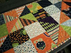 Halloween Table Runner Monster Bash Pinwheels by atthebrightspot, $48.00