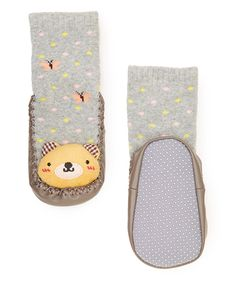 Look at this Gray Teddy Bear Sock Shoes on #zulily today!