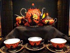VINTAGE* VICTORIAN *PORCELAIN 10 PIECE WITCHES* TEA SET ORIGINAL ART BY* Peggy G