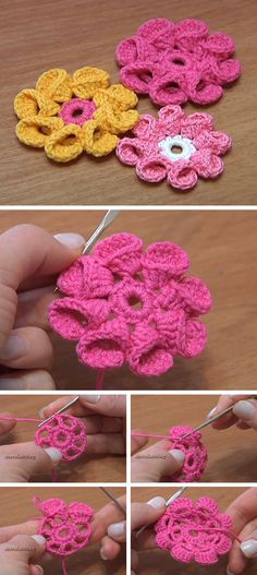 This 8 petals crochet flowers, are by far one of the easiest crochet patterns you'll ever see and yet are also one of the most beautiful and versatile. Crochet Puff Flower, Crochet Flower Tutorial, Crochet Flower Patterns, Crochet Designs, Crochet Flowers, Unique Crochet, Love Crochet, Crochet Motif, Diy Crochet