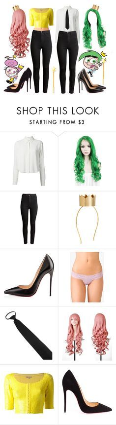 """""""Best Friends Costumes. #529"""" by alejandramalagon ❤ liked on Polyvore featuring Ødd., T By Alexander Wang, H&M, Christian Louboutin, Forever 21, P.A.R.O.S.H., fairlyoddparents and costumes"""