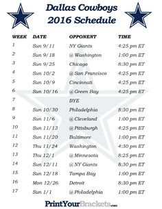 Printable Dallas Cowboys Schedule - 2016 Football Season