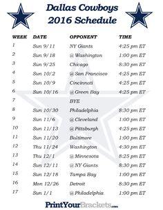 New York Giants 2016 Football Schedule. Print Schedule