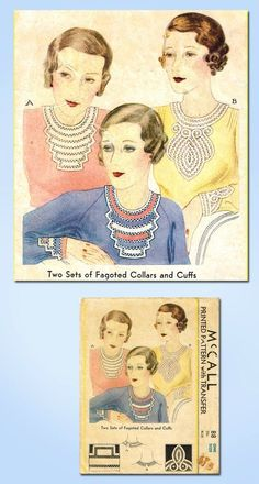 1930s RARE Vintage Fagoted Collars Cuffs Set 1933 McCall Vtg Sewing Pattern | eBay