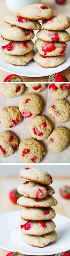 Strawberry cream cheese cookies. They taste like a strawberry cake but in a cookie form! Tips on how to make nicely shaped round cookies with rounded tops!