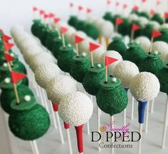 Golf-themed cake pops for two different events! The first is to help kick off the , Fore! Golf-themed cake pops for two different events! The first is to help kick off the & golf tournament happening tomorrow at Golf Cake Pops, Golf Ball Cake, Golf Cupcakes, Cupcake Cakes, Golf Cookies, Fun Cakes, Thema Golf, Golf Themed Cakes, Golf Party Foods