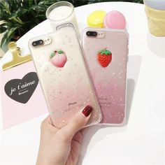 Factory wholesale peach TPU shell flash powder mobile phone case for girls