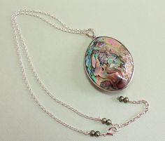 Large Abalone Necklace Abalone Shell Pendant by CaveGemstones #necklace #abalone
