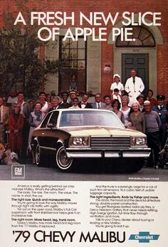 1979 Chevrolet Malibu original vintage advertisement. Photographed in rich color. Classic coupe model shown.
