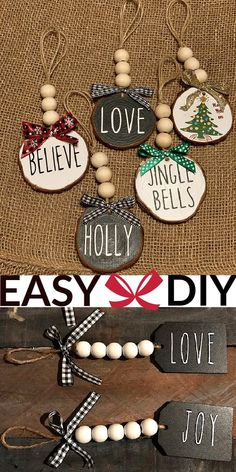 Easy Christmas Ornaments, Christmas Crafts For Adults, Rustic Christmas, Simple Christmas, Kids Christmas, Holiday Crafts, Christmas Presents, Homemade Christmas Tree Decorations, Christmas Crafts To Make And Sell