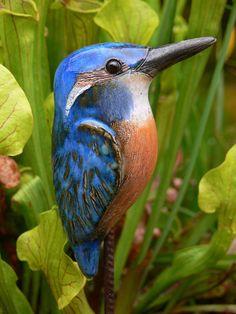 """Gartendekoration - Steckvogel """" Eisvogel"""" - ein Designerstück von Brigitte_Peglow bei DaWanda"""