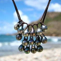 Orea waterfall Tahitian pearl leather necklace I like the structure. Leather Pearl Necklace, Cultured Pearl Necklace, Cultured Pearls, Leather Jewelry, Pearl Jewelry, Beaded Jewelry, Jewelery, Handmade Jewelry, Pearl Rings