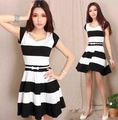 Vestido rodado listras preto e branco - Frete Grátis - LEIA DESCRIÇÃO COM PRAZO DE ENTREGA