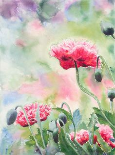 """Poppies"" by Justine Cadman. Paintings for Sale. Watercolour Paintings, Watercolor Paper, Pink Poppies, Dont Fall In Love, Buy Art Online, Australian Art, Paintings For Sale, Online Art Gallery, Original Artwork"
