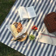 striped canvas picnic blanket set for picnic Picnic Date, Summer Picnic, Comida Picnic, Jai Faim, Aesthetic Food, Cozy Aesthetic, Summer Aesthetic, Blue Aesthetic, Cute Food