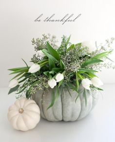 Idea for a fall centerpiece. Carve out a pumpkin, add glass vase, your favorite flowers. Love the blue/green Cinderella pumpkin with white flowers. Thanksgiving Flowers, Thanksgiving Centerpieces, Happy Thanksgiving, Autumn Centerpieces, Thanksgiving Favors, Thanksgiving Photos, Flower Centerpieces, Happy Fall, Deco Floral