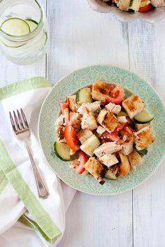 Grilled Chicken Panzanella with Cucumber and Feta | quick, light, filling, super delicious. I did add some italian seasoning. All four of us gobbled it up.