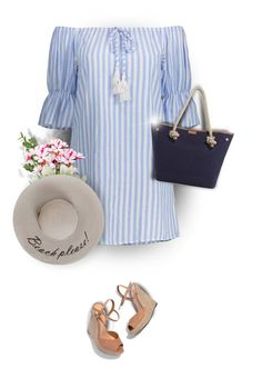 """Beach Please!"" by moomoofan1972 ❤ liked on Polyvore featuring Schutz, MICHAEL Michael Kors, strawhat, polyvorecommunity, polyvoreeditorial and BeachPlease"