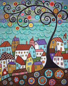 RUG HOOK PAPER PATTERN Village By The Sea ABSTRACT FOLK ART PRIMITIVE - Karla G