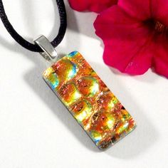 Orange and Gold Necklace, Fused Dichroic Glass Jewelry, Pendant