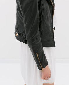 Minimal + Classic: LEATHER BIKER JACKET W/ WHITE DRESS / Zara