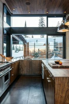 Giant kitchen windows, wood
