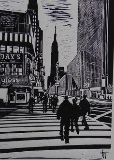 "Linogravure ""The Sydney Opera House"" - Géraldine THEUROT - artiste-peintre"