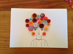 Button lady with Afro - card - by Tiffany