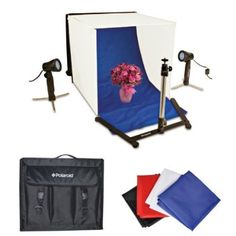 Polaroid Table Top Portable Photo Studio Light Tent Kit, Includes 1 Tent, 2 Lights, 1 Tripod Stand, 1 Carrying Caes, 4 Backdrops (Black, Blue, White, Red) - With UK/EU Plug
