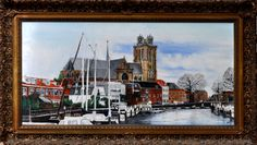 Nieuwehaven met Grotekerk Dordrecht (olieverf op linnen 80 x 40 cm) https://www.facebook.com/Jan.Asmus.Painter